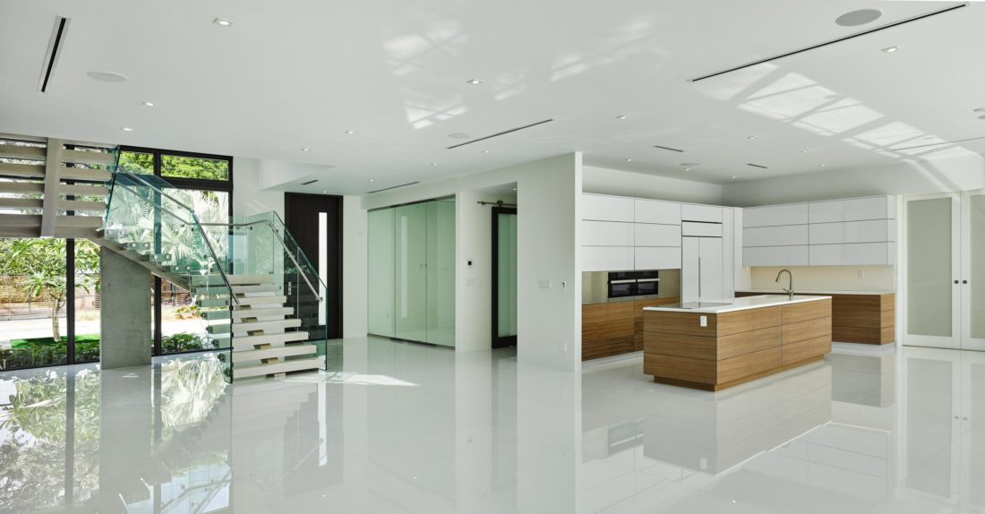 Light floors enhance the open floor-plan