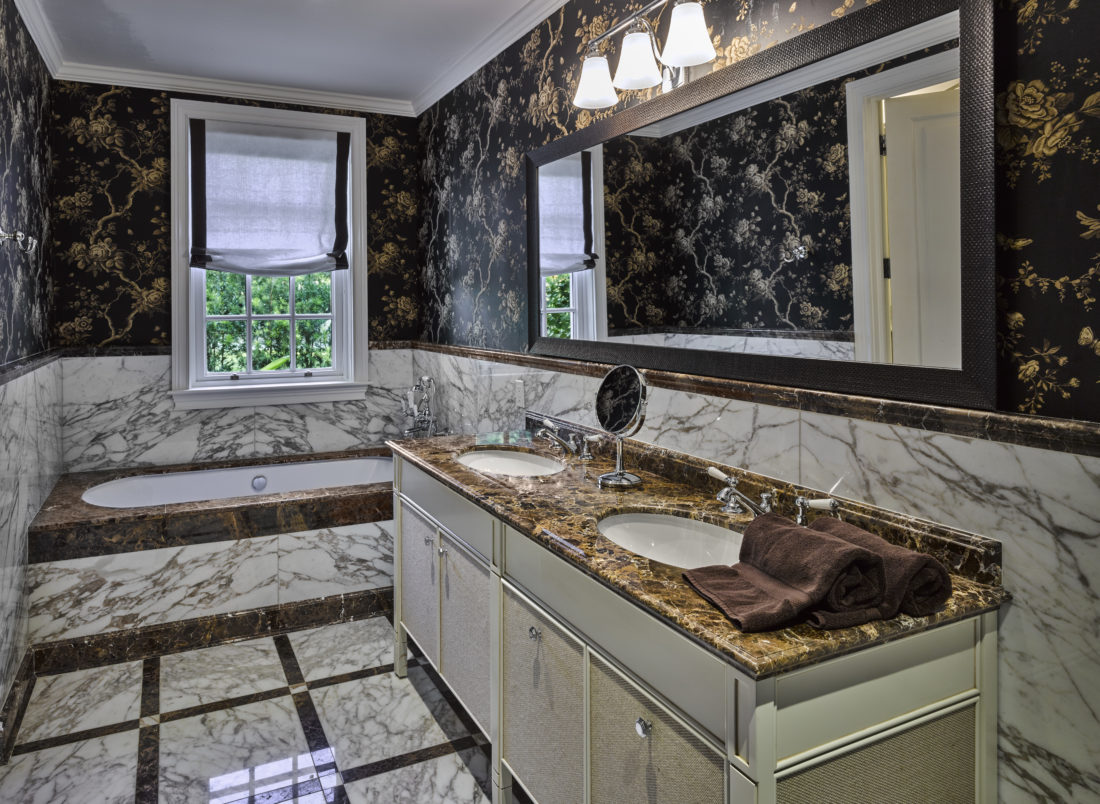 Marble details in the master bathroom