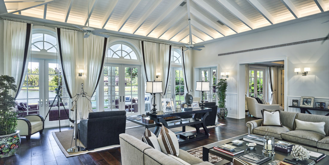 Open living area with vaulted ceilings
