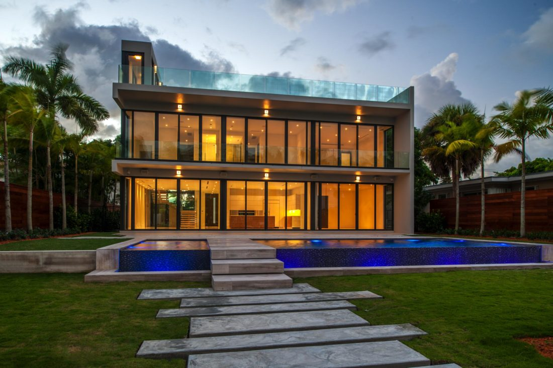 Another look at the back of the home and LED infinity pool