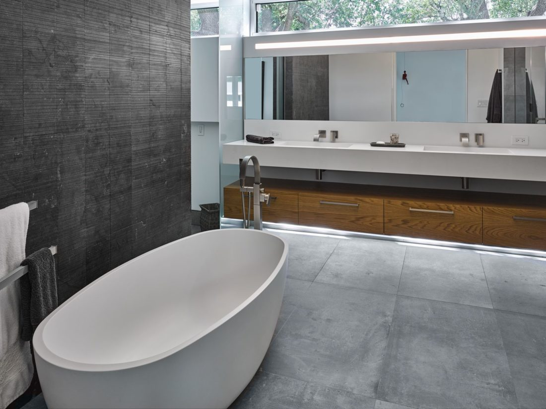 Master bath with glass countertops
