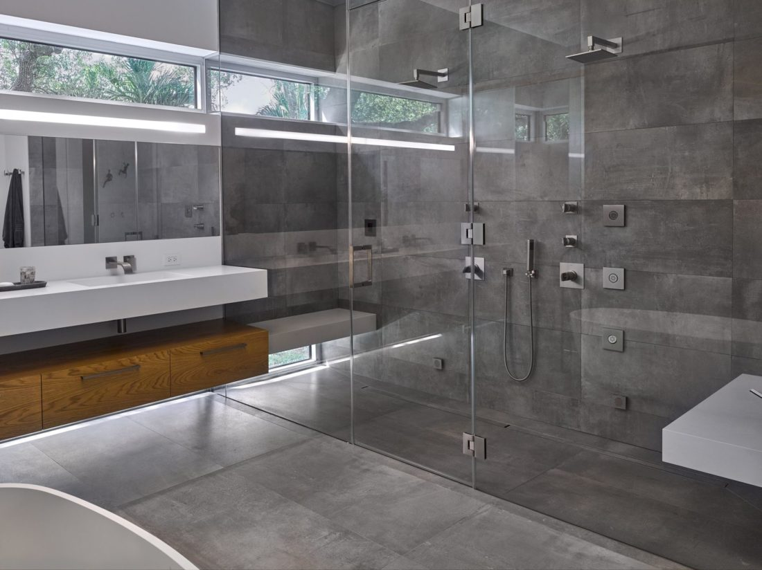 Shower view in the master bath