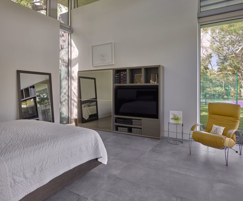 Concrete floors in one of the guest rooms
