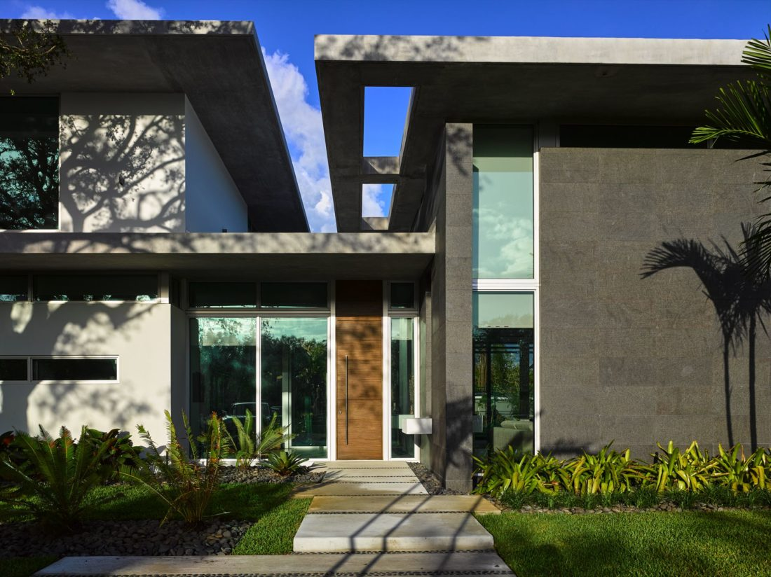 Modern and sleek front entryway